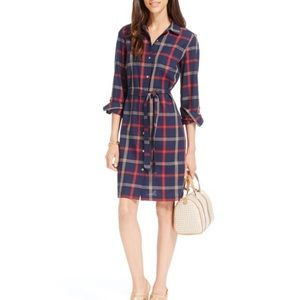 Tommy Hilfiger Plaid Button Down Belted Shirtdress